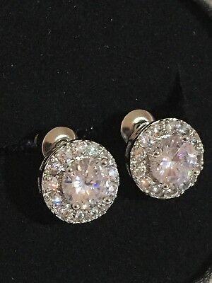 18K White Gold 2.15 Carat Diamond Cluster Stud Earrings