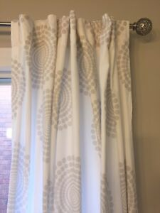 "90""x60"" Linen Curtain white/grey"