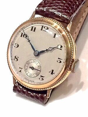 Vintage 9ct Gold Mens Watch in Original Box