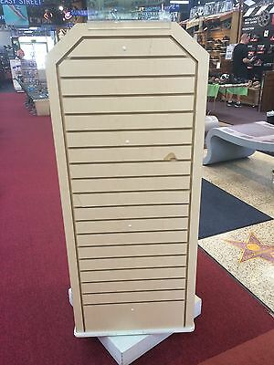 Retail Slat Wall Display Store Fixture Revolving Gondola On Casters