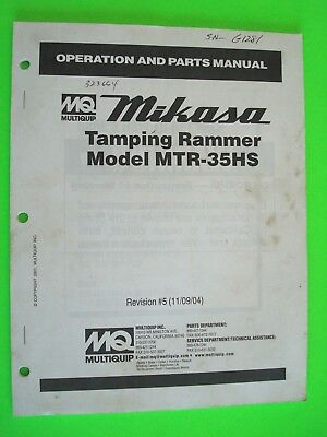 Mq Mikasa Tamping Rammer Model Mtr-35hs Operation And Parts Manual 110904