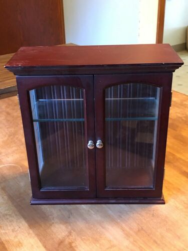 "Wood and Etched Glass Curio Cabinet, 10.5"" tall, Shelf, Rich Mahogany like Color"