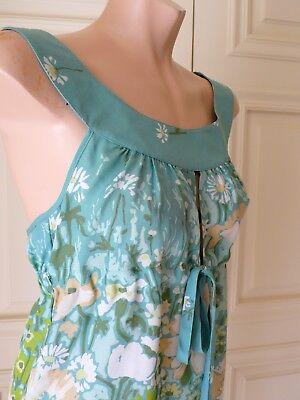 R.E.D. VALENTINO 100%Silk Aqua-Green Floral Open Cross-Back Bow Tie Top 42 ITALY