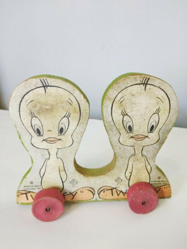 Vintage Looney Tunes Wood Tweety Birds on Wood Wheels