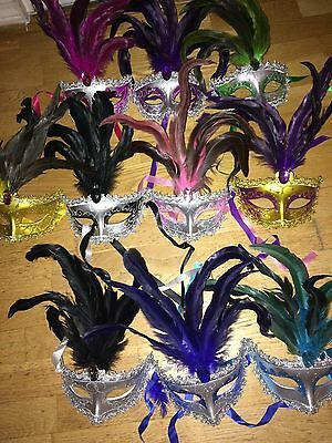 12 mardi gras mask lot Venetian masquerade year party wedding costume feather](Mardi Gra Costume)