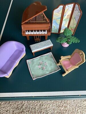 Fisher Price Loving Family Dollhouse Piano & Bench Musical Couch Lot