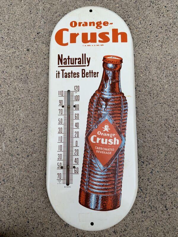 "Vintage ORANGE CRUSH Thermometer ""Naturally Tastes Better""-WORKS! 1930's"