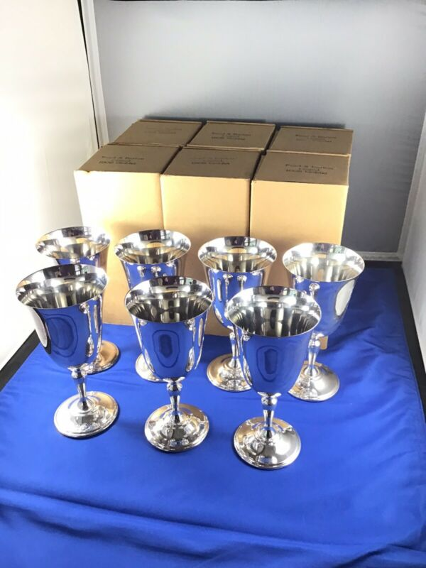 Set Of 7 Reed & Barton Jamestown 1808 Silverplate Wine Water Goblets