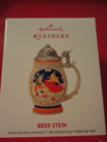2016 Hallmark ornament BEER STEIN elves dancing working moveable lid  New