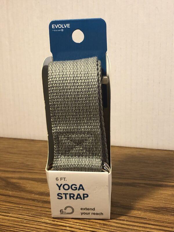 Gaiam Evolve Yoga Strap Gray 6 Feet Durable D-Ring FITNESS HEALTH WELLNESS NEW