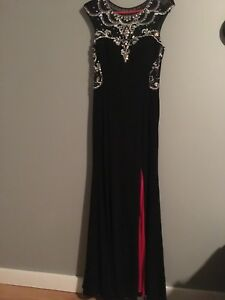 Black and red slit illusion blinged out long prom/evening dress