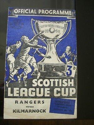 Football Programme: Rangers v Kilmarnock:Scottish League Cup Semi-final 4.10.52