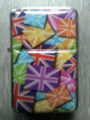 NEW Colourful Multi Union Jack Flag Refillable Petrol Flip Top Windproof Lighter
