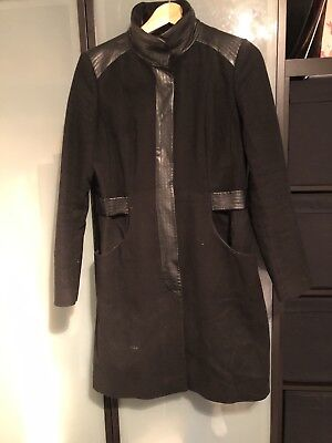 Black Military Coat With Leather Detail 12