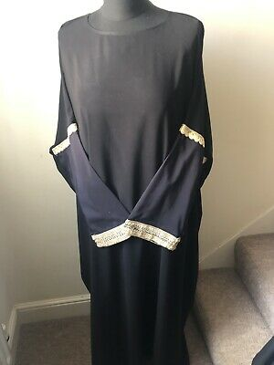 Abaya Jilbab Black Gold Diamante Batwing
