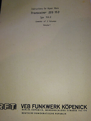 SEG 15D  englische Reparaturanleitung, Repair Work, RFT / Funkwerk Köpenick