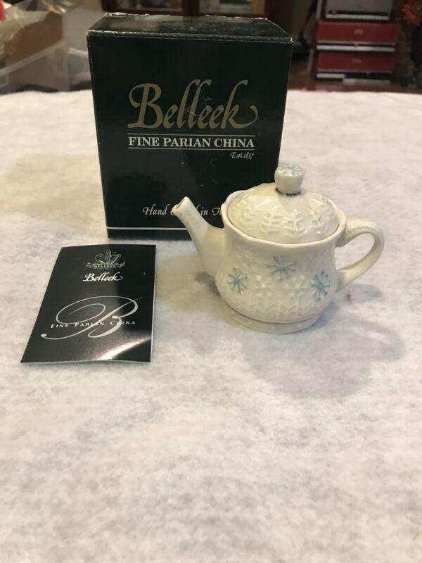 Beeleek Fine Parian China Snowflake Mini Teapot