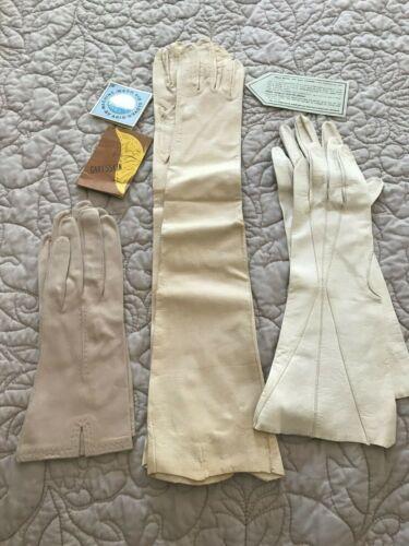 3 Pairs unused Vintage Kidskin Leather Gloves
