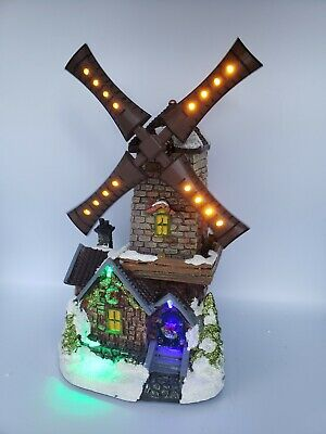 Holiday Time Led Lighted Animated Musical Windmill Christmas Village House Resin