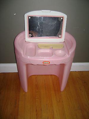 Vintage LITTLE TIKES Child Size Pink Vanity w/ Mirror Dress Up Toy