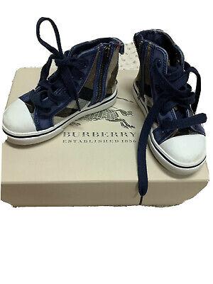 EUC Burberry Baby Checkerd Sneakers Unisex Size 25