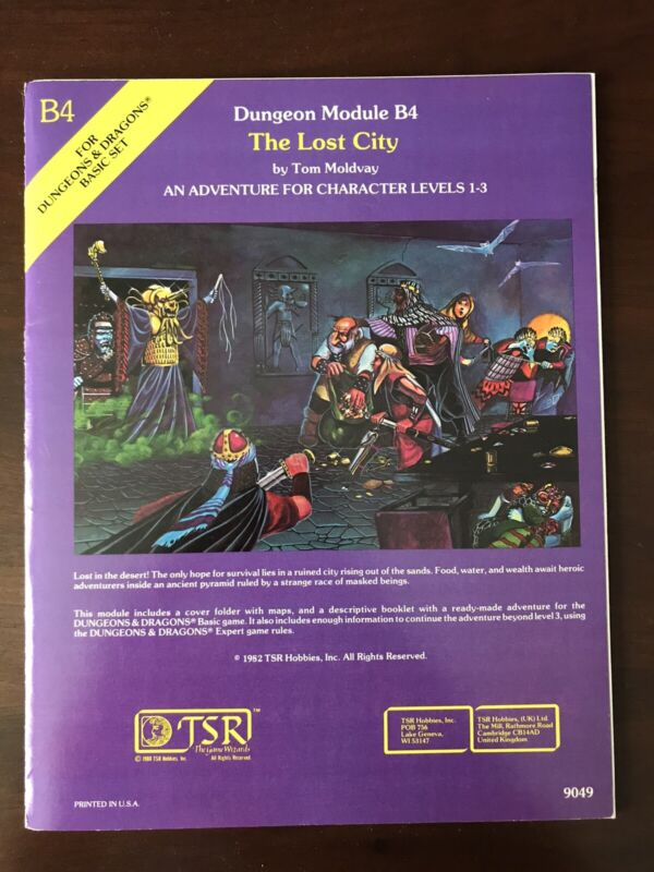 "VINTAGE 1982 DUNGEONS & DRAGONS MODULE B4 9049 ""THE LOST CITY"" EXCELLENT COND!"