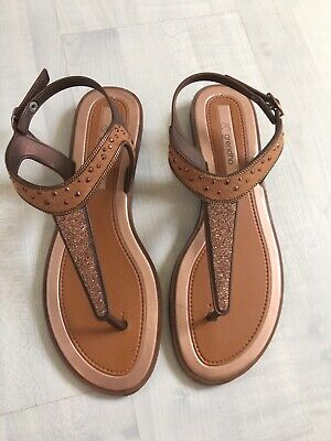 Ipanema/Grendha Tan Glitter And Suedette Sandals. Excellent Cond. Size 7