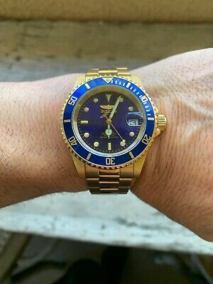 Invicta Pro Diver 40mm Yellow Gold Tone Blue Dial Automatic Watch Expo Back
