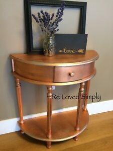 Copper Leaf Half Moon Table