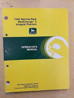 John Deere 7340 Narrow-row Maxemerge 2 Integral Planters Operators Manual