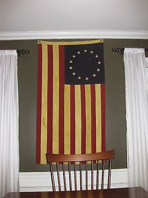 Betsy Ross Cotton Tea Stained Flag   Large 3Ft X 5Ft