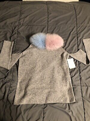 Izaak Azanei Sagafurs Gray Sweater Size S/M Real Fur