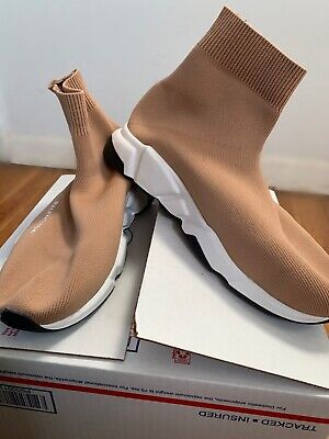 Beige Balenciaga Speed Trainer Sock Sneakers EUR 44