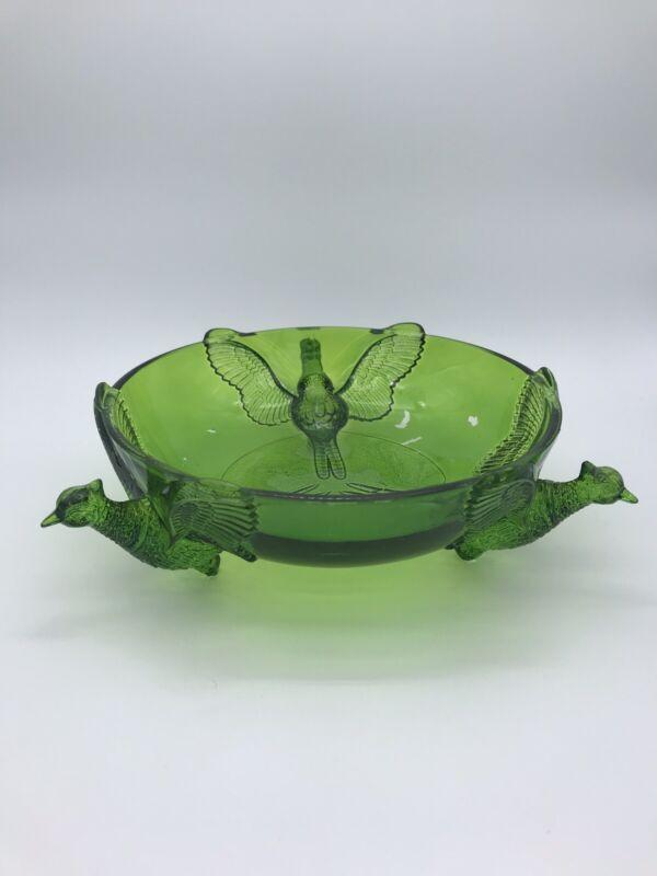 Jeanette Vibrant Vintage Pheasant Green Glass Bowl Mid Century Modern