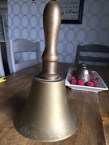 Antique Victorian Large Brass  Hand Bell