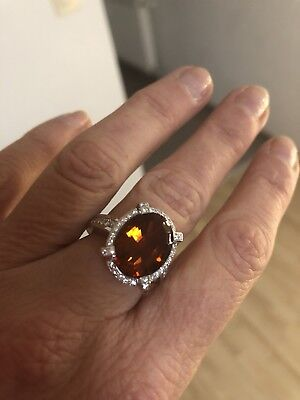 Ring mit großem Citrin und 44 Diamanten, Unikat, Weissgold, 13,5 g, Zertifikat gebraucht kaufen  Saarbrücken