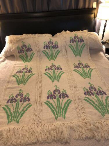 Handmade Crochet Knitted Afghan Blanket Iris Purple Flower Floral 72 X 52 - $128.34