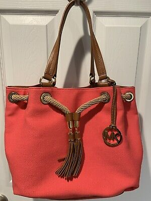 Large Canvas Tote (MICHAEL KORS MARINA LARGE CANVAS LEATHER TOTE  HANDBAG IN)