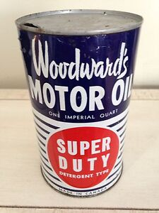 Woodwards imperial quart motor oil tin can gas pump sign