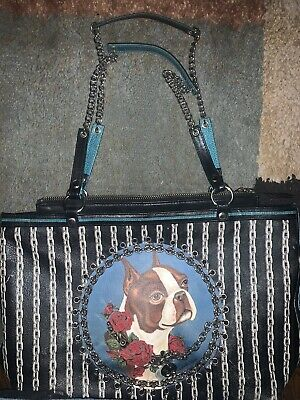 Vintage ISABELLA FIORE Spoiled French Bulldog Leather Bag. Very Nice Purse!