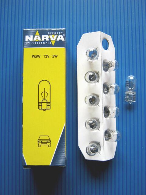 10 x Blinkerlampe W5W  12V/5W (  Glassockel W2,1x9,5d  )NARVA  # 17177