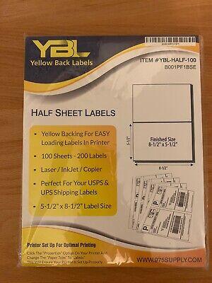 YBL Half Sheet Shipping Labels 200 Labels 100 Sheets