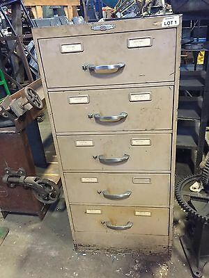Giant Vintage Index Card File Cabinet 5 Drawer File 19x28x41-12 Metal Steel
