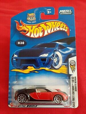 Hot Wheels BUGATTI VEYRON 2003 First Editions Red/Black #18/42 Metal Collection