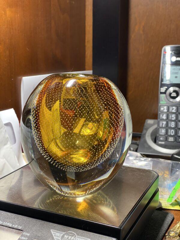 "Gunnel Nyman Nuutajärvi Nostjö Finland Controlled Bubble Amber 4.5"" Vase RARE"