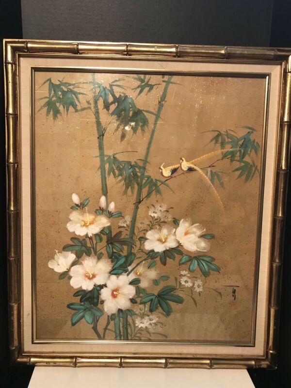 VINTAGE JAPANESE FLORAL BIRDS ORIGINAL WATERCOLOR PAINTING SIGNED