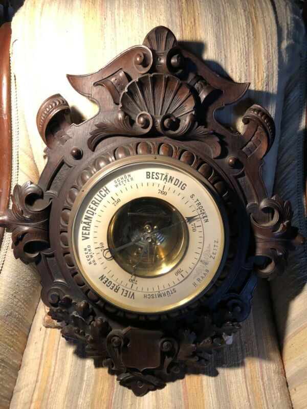 Elaborate Antique German Barometer, H. Raab Zeitz