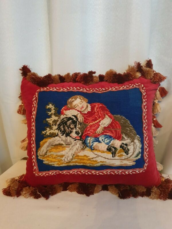 Antique victorian needlework  cushion pillow superb condition