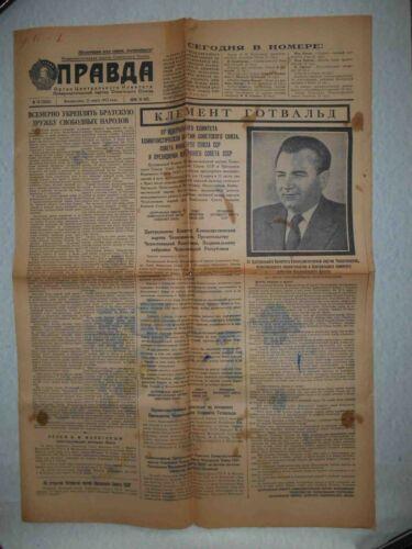 USSR 1953 Death Klement Gottwald. Russian Daily Pravda Newspaper. Czech Slovakia