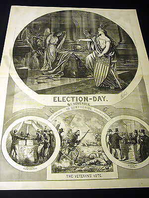 Thomas Nast Election Day Citizens Veterans Anti Slavery Vote 1864 Large Print